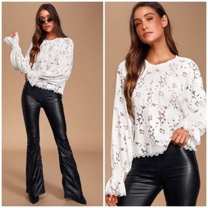 NWT Free People Olivia Ivory Long Sleeve Lace Top